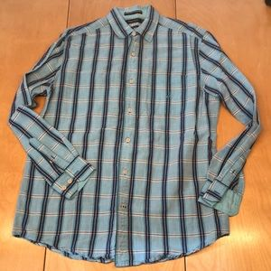 Nautica Long Sleeve Button Down Turquoise Plaid